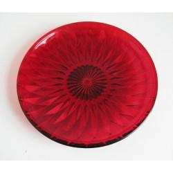 Talíř sklo brus červený 20cm