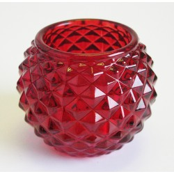 Svícen čaj. sklo brus červený 7cm