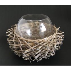 Váza sklo s dř.věncem šedá 21x13 cm