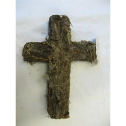 Kříž kůra + lišejník 30 cm