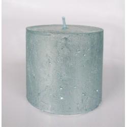 Svíčka rustik metal sv.modrá  6,8x7 cm