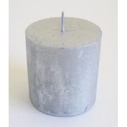 Svíčka rustik metal stříbrná